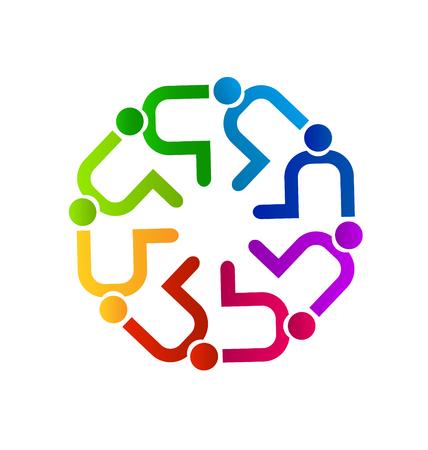 Teamwork people contributing icon