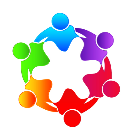 Teamwork people together, creating abstract shape icon Çizim