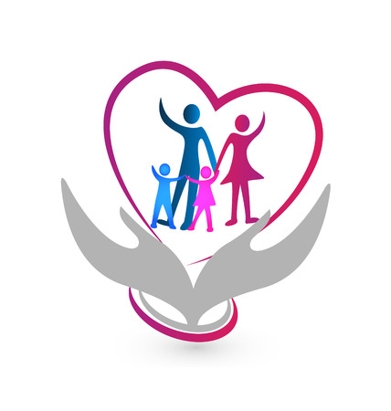 Family symbol with hands and heart illustration