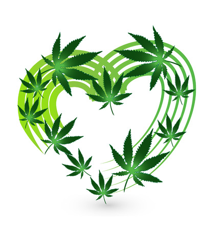 Heart and leaf cannabis plant vector icon design.