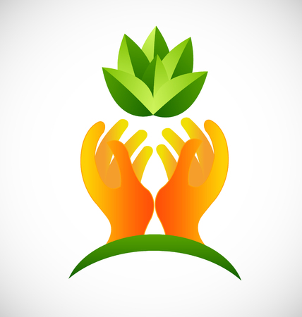Hands protecting plants icon vector design