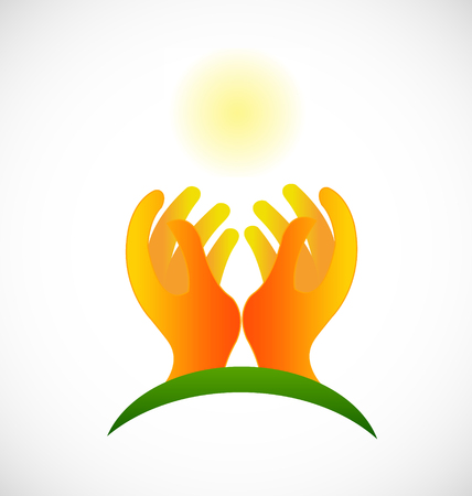 Hopeless hands and light sun vector icon