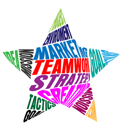 Teamwork words or meaning in a star shape vector icon colorful. Illustration