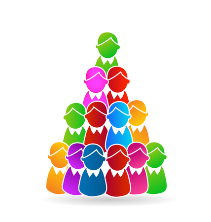 Global Family human shapes concept tree design . Group of people gather around vector design.