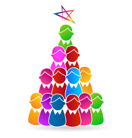 Tree Christmas people shape with star symbol vector icon design. Illustration