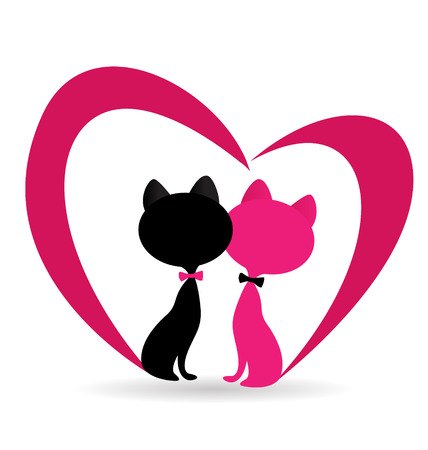 Cat fallen in love with pink heart shape vector icon.