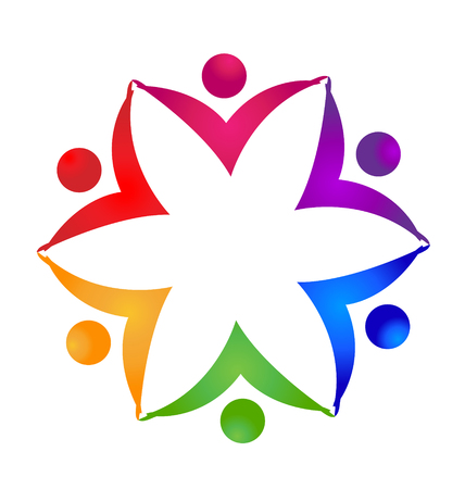 Teamwork flower unity people hands icon vector concept. Illustration