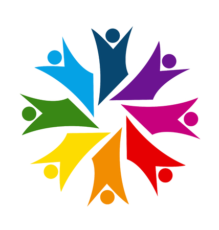 Colorful teamwork happiness, business, meeting people or unity children concept symbols vector icon. Illustration