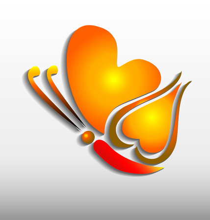 Butterfly with heart shapes glowing and shiny design icon vector Illustration