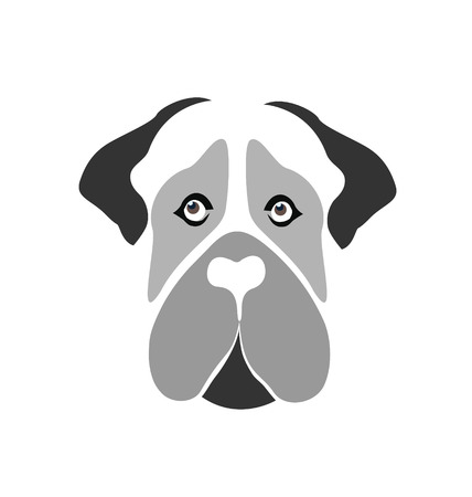 Mastiff Dog cartoon silhouette face vector icon