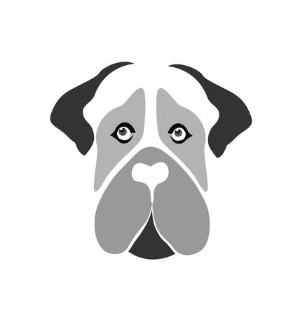 Mastiff Dog cartoon silhouette face vector icon