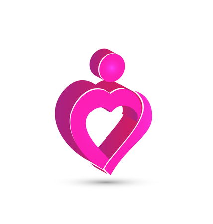 Pink heart 3D abstract figure vector icon design Illustration