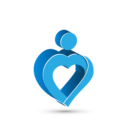 Blue heart 3D abstract figure vector icon design Illustration