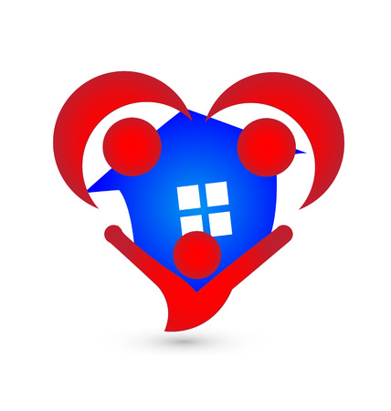 House and people agents in heart shape icon vector