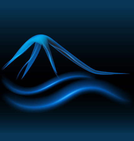 Blue mountains glowing neon background vector design