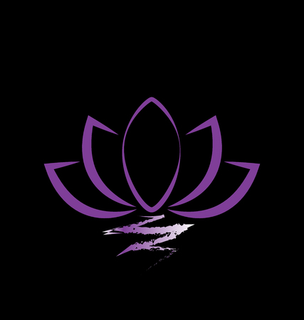 Purple lotus on black background