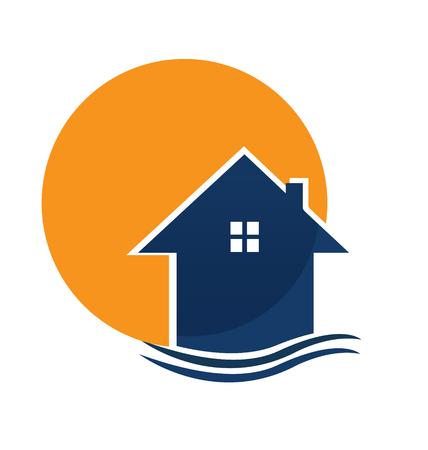 Vector logo casa y sol Logos