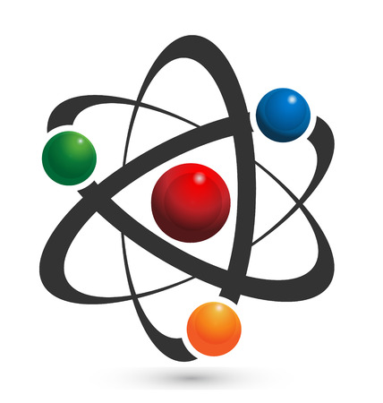 Vector of atom icon illustration in vivid colors