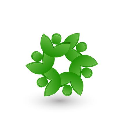 Vector teamwork of leafs symbolic design icon Illustration