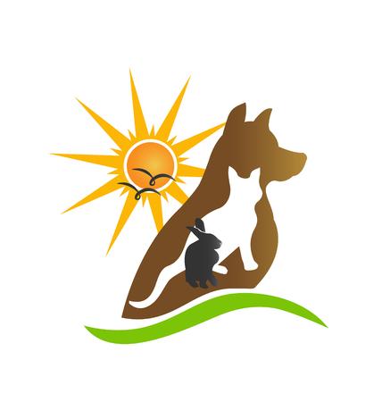 Cat dog rabbit silhouettes creative vector design