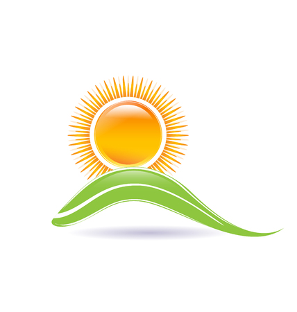 Sun and leaf illustration vector icon design