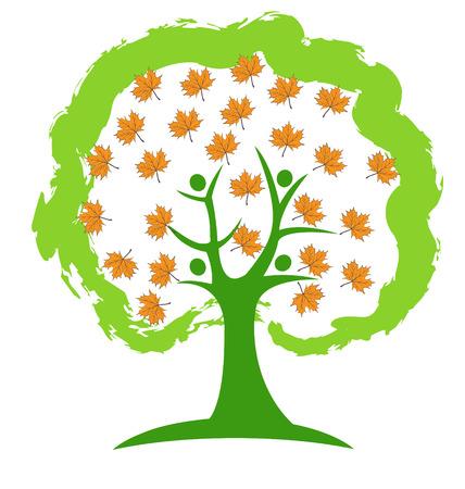 Tree people season icon background vector design Illustration