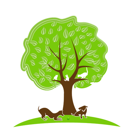 Tree with pets. Dogs and cats playing in the yard icon vector design