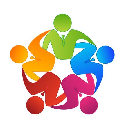 Teamwork image on suit people icon