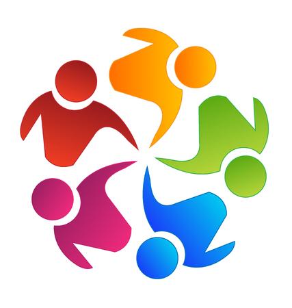 Vector teamwork concept of community icon template 일러스트