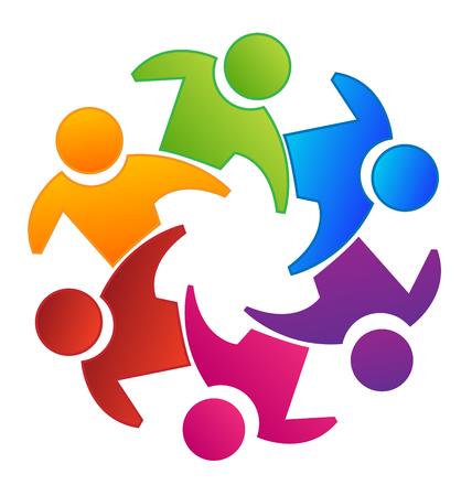Vector teamwork concept of community icon template 矢量图像