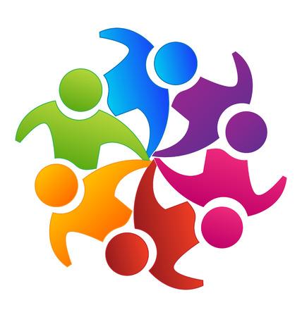Vector teamwork concept of community icon template Vettoriali