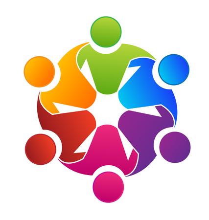 Vektorteamwork-Konzept der Gemeinschaftsikonenschablone Standard-Bild - 96861396