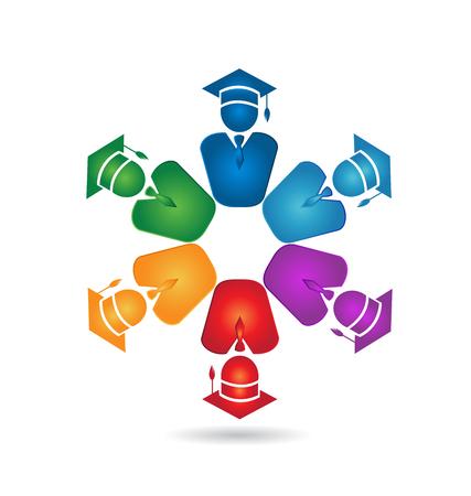 Teamwork of graduated people icon
