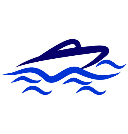 Boat on the sea wave icon vector illustration