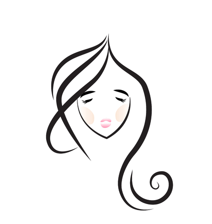 Beautiful girl with nice hair for salon design icon Stock Illustratie