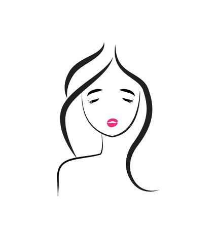 Beautiful girl hair salon icon vector illustration