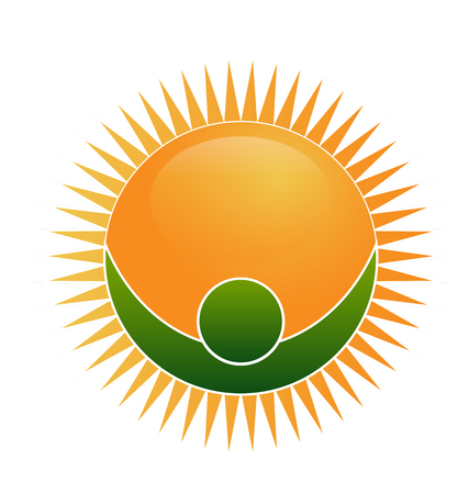 Energized sun with green man figure icon vector illustration