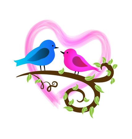 Cute couple lovers birds vector icon