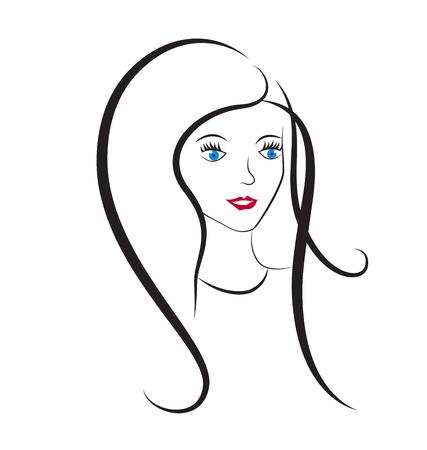 Girl hair salon icon Illustration