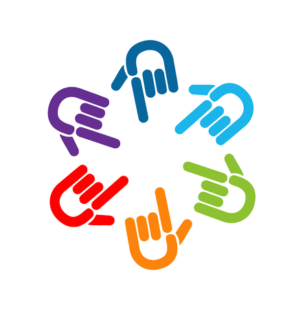 Group of colorful pointing hands icon vector