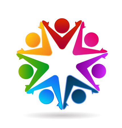 Teamwork group of people, star shape icon