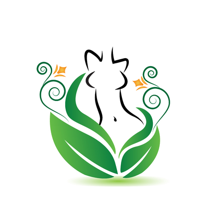 Healthy woman body with natural leafs icon vector