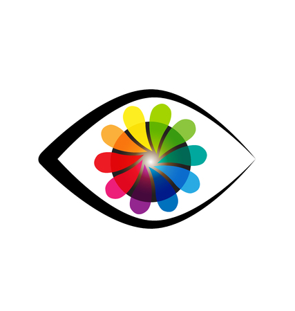 Abstract eye with flower shape iris icon vector Illustration