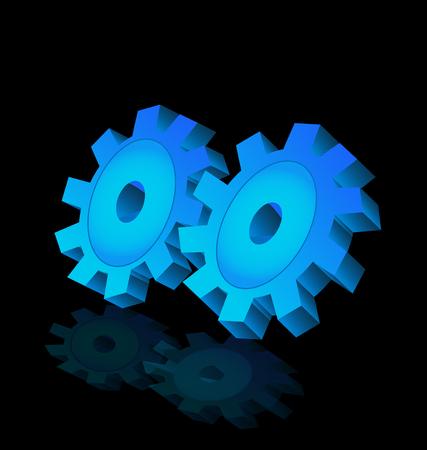 3D blue gear, cog icon vector