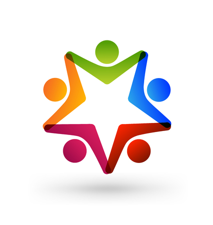 Teamwork star group of people colorful icon