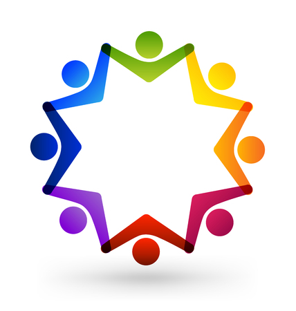 Star shape group of working people icon