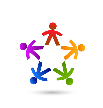 Multi-colored group of people, teamwork icon Illustration