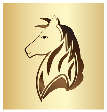 Majestic horse portrait on gold background