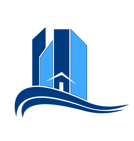 Blue building city icon vector design