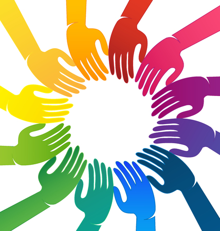 Different colorful hands coming together for change, icon